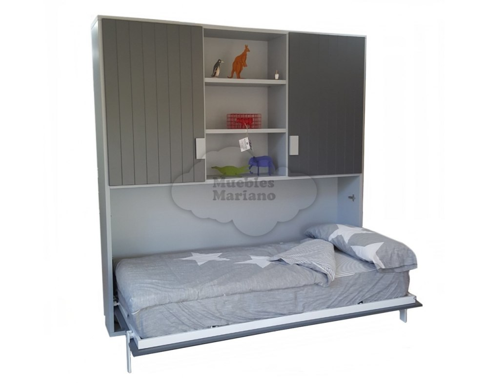 Cama abatible horizontal individual econ mica con librer a - Armario cama abatible ...