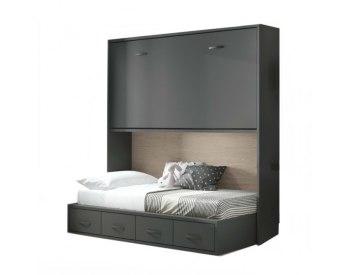 Cama abatible individual elevada con cama nido