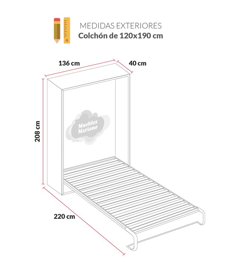 Cama abatible vertical econ mica matrimonio for Cama 120x190