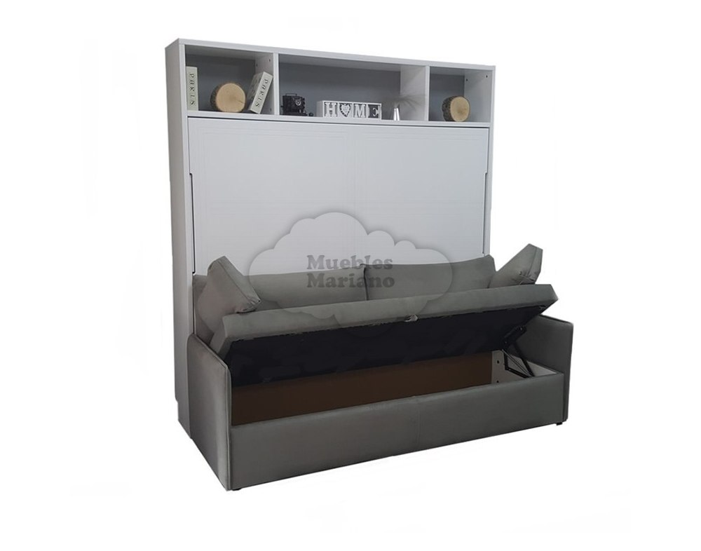 Cama abatible horizontal de matrimonio lacada con sof for Sofa cama 150 cm ancho