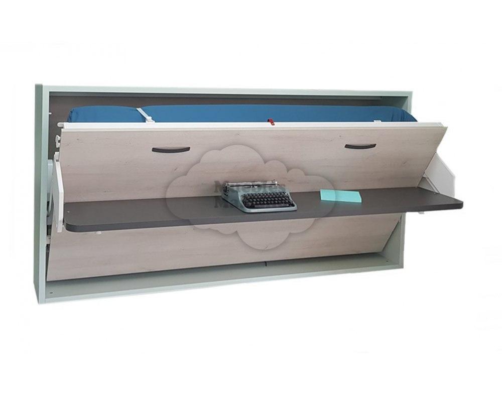 Cama abatible horizontal individualcon mesa de estudio - Camas abatibles con mesa ...