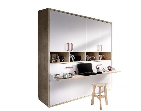 Cama abatible individual con mesa de estudio y armario