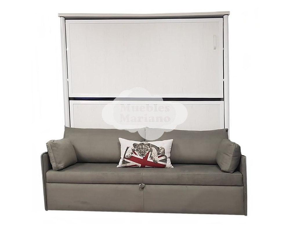 Litera abatible horizontal met lica con sof - Literas con sofa ...