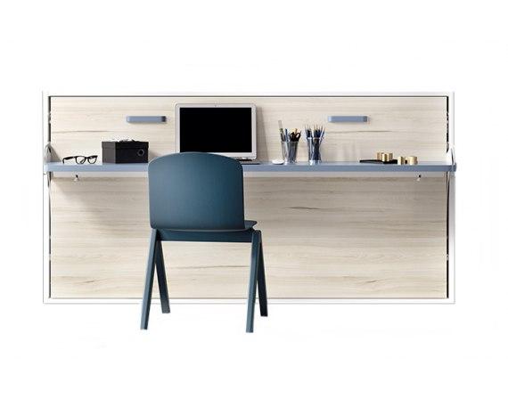 Cama abatible individual con mesa de estudio 90cm y 105cm.