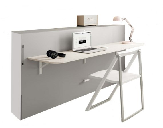 Cama abatible horizontal con escritorio plegable