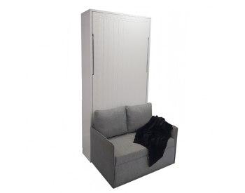 Cama abatible vertical individual Lacada con sofá