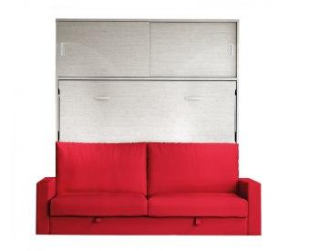 Cama abatible horizontal matrimonio con sofá y armario incorporado