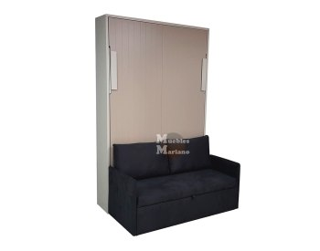 Cama abatible vertical Matrimonio Lacada con sofá