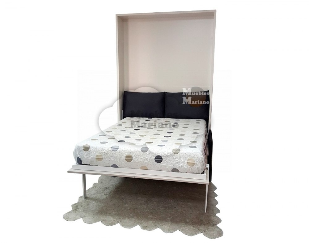 Cama abatible vertical de matrimonio lacada con sof for Sofa cama 120 cm ancho