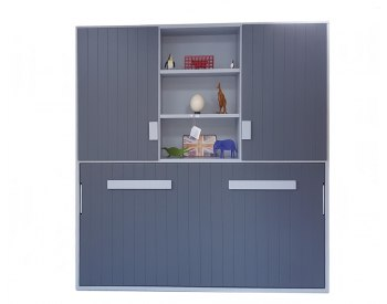 Cama abatible horizontal individual con librería y armario