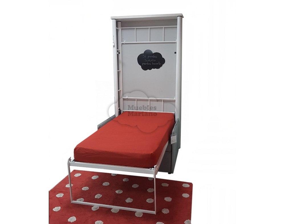 Cama abatible vertical individual con sof for Cama individual metalica