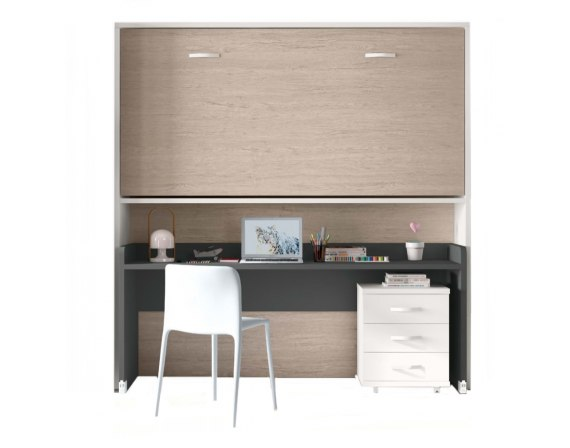Cama abatible individual elevada con escritorio