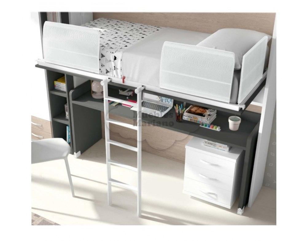 Cama abatible individual elevada con escritorio econ mica - Cama abatible escritorio ...