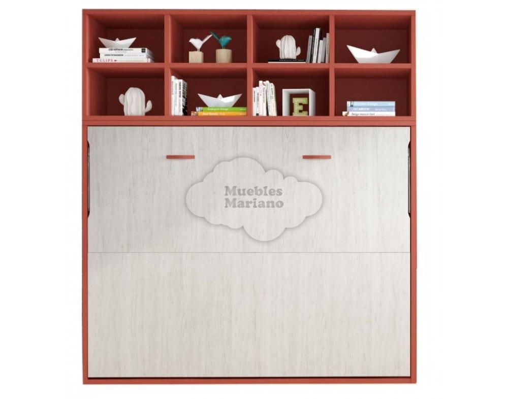 Cama abatible horizontal matrimonio con libreria for Cama matrimonio abatible horizontal