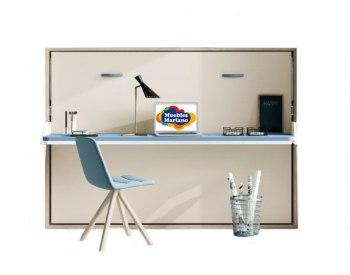 Cama abatible horizontal con mesa de estudio